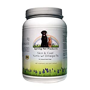 Spring Pet Skin & Coat Yums with Omega-3 Fatty Acids ~ Fish Oil Supplement ~ Large and Giant Dogs ~ 150 ct ~ Recommended by Veterinarians ~ Quality Ingredients Made in USA