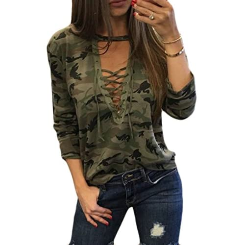 Cheap Cruiize Womens Basic Lace Up Camo Printed Bandage Top Blouse T-Shirt supplier