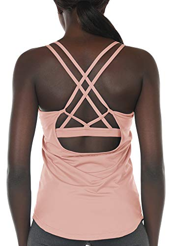 - icyzone Workout Tank Tops Built in Bra - Women's Strappy Athletic Yoga Tops, Running Exercise Gym Shirts (S, Pale Blush)
