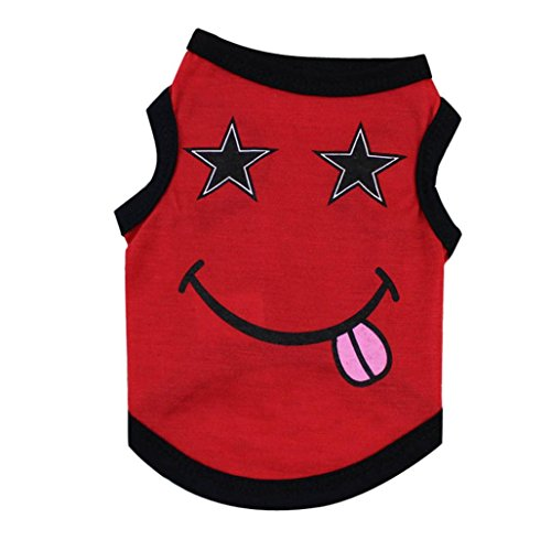 Sweet Face Jersey (Axchongery Dog Shirt, Summer Pet Greedy Face Costumes Small Puppy Vest Clothes Apparel (Red, M))