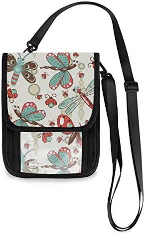 トラベルウォレット ミニ ネックポーチトラベルポーチ ポータブル 花柄 トンボの蝶 小さな財布 斜めのパッケージ 首ひも調節可能 ネックポーチ スキミング防止 男女兼用 トラベルポーチ カードケース
