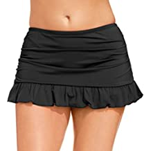 Black Colors Women Plus Size Built-in Skirted Bikini Brief Bottoms Ruffled Swim Skirt