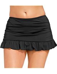 Black Colors Women Plus Size Built-in Skirted Bikini Brief Bottoms Ruffled Swim Skirt