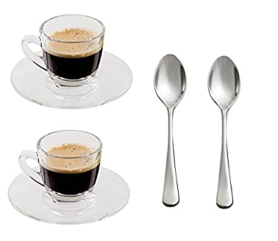 """""""Antica"""" 2.5-Ounce. Small Demitasse Clear Glass Espresso Drinkware, Set of 2 Cups/Saucers + Set of 2 Stainless Steel 18/10 mini Espresso Spoons! Hostess, Coffee Lover/Enthusiast, Espresso."""