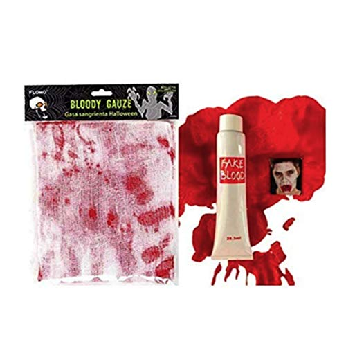 Plum Nellie's Treasures Bloody Bandage Guaze & Fake Blood Halloween Costume Props for Costume Red ()