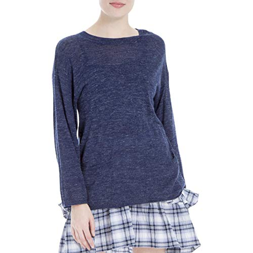 (Max Studio London Womens Crew Neck Front Pockets Pullover Sweater Blue S)