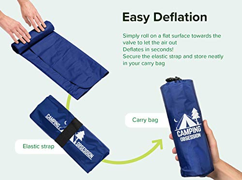Camping Mat Inflatable Sleeping Pad – Compact and Lightweight, Perfect for Backpacking – Ultralight Air Mattress Engineered for Support & Sleep Comfort – with Bonus Survival Whistle (Admiral Blue)
