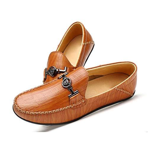 resbalones 2018 y Respirables Primavera Cuero de de de Mocasines la Hombres Moda de Casuales Perezosos nuevos Zapatos cómodos conducción de Marrón los Zapatos Zapatos rqx7OFTr
