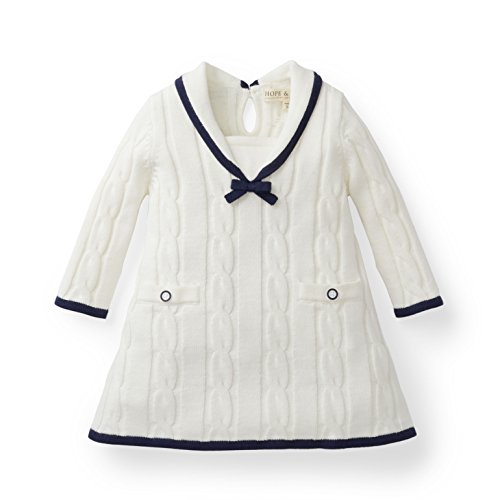 Hope & Henry Layette Girl White Sailor Sweater Dress