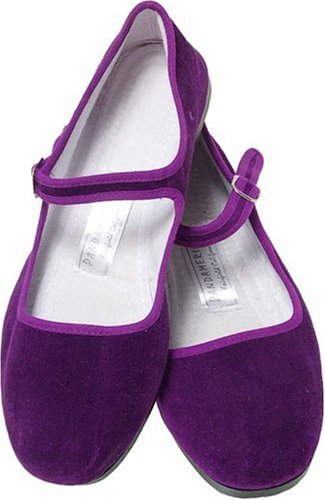 Panda Purple Velvet Chinese Maryjanes product image