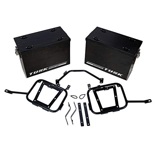 - Tusk Aluminum Dual Sport Panniers with Pannier Racks - MEDIUM BLACK - KAWASAKI KLR650 2008-2018