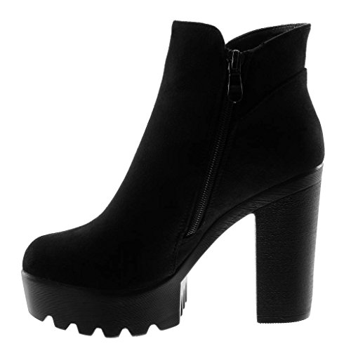8 cm 5 Boots high Fashion Black Heel 41 Booty H303 Women's Angkorly T Ankle Studded Boots Platform 11 Block Chelsea UK Elastic Shoes wZBWIa