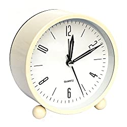 Bidason Alarm Clock, Cube Office Desk Clock, No Ticking Noise Modern Cool Alarm Clocks for Bedrooms with Night Light, Battery Operated Travel Clock, Easy to Set, Ideal Gift for Kids (Beige)