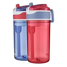 Contigo AUTOSPOUT Straw Gizmo Flip Kids Water Bottle, 14 oz, Ruby with Owls 2 The Autospout lid features a straw and a spill proof valve so you don't have to worry about spill even when the lid is open Protective spout cover keeps out dirt and germs Angled straw in order to get every last sip