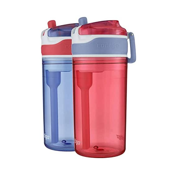 Contigo AUTOSPOUT Straw Gizmo Flip Kids Water Bottle, 14 oz, Ruby with Owls 1 The Autospout lid features a straw and a spill proof valve so you don't have to worry about spill even when the lid is open Protective spout cover keeps out dirt and germs Angled straw in order to get every last sip