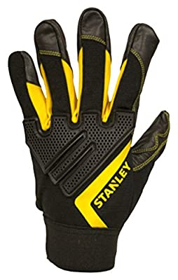 Stanley S77602 Black Grain Goatskin Gloves with PVC Reinforcements and a Black Spandex Back