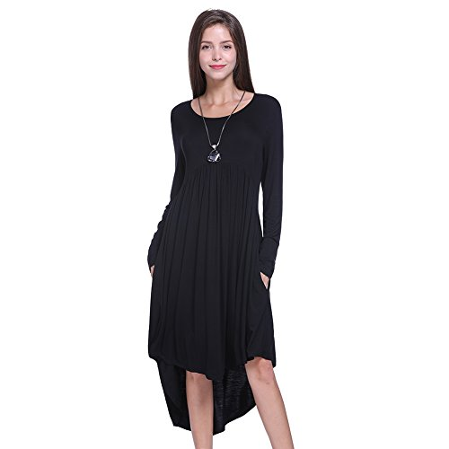Hot Fancyqube Women's Long Sleeve Pockets Scoop Neck High Low Pleated Swing Midi Dress free shipping