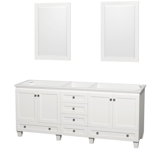 (Wyndham Collection Acclaim 80 inch Double Bathroom Vanity in White, No Countertop, No Sinks, and 24 inch Mirrors )