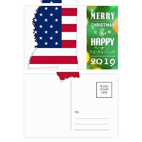 Mississippi USA Map Stars Stripes Flag Shape 2019 New Year Postcard Thanks Card 20pcs (Mississippi Postcard)