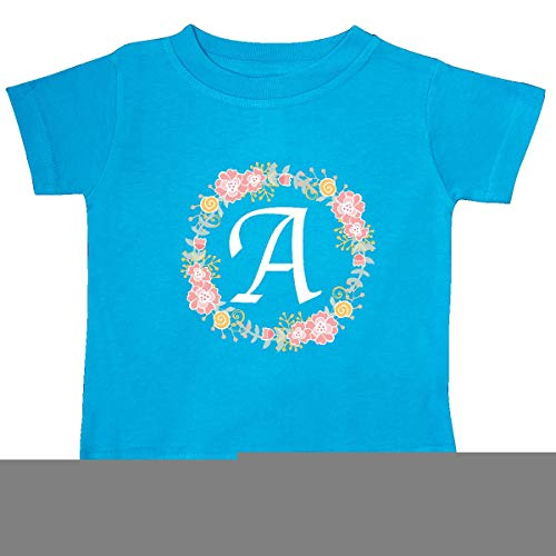 inktastic - Letter A Rose Floral Wreath Baby T-Shirt 18 Months Turquoise 309ae