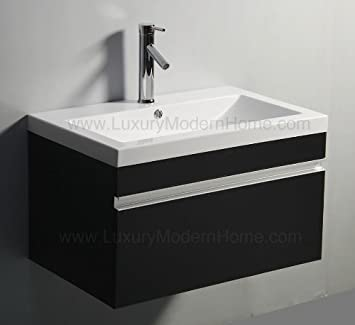 Vs ALEXIUS   BLACK 30u0026quot; Inch Vanity Sink Modern Floating Wall Hung  Mount Bathroom Modern