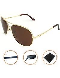 J + S Premium anteojos de sol estilo aviador clásico, polarizadas, de estilo militar 100% de protección UV