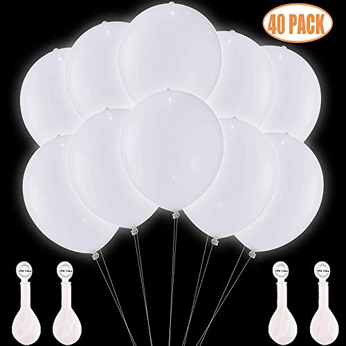 White Light Up Balloons (TECHSHARE LED Light Up Balloons White 40 Pack, Glow in The Dark Balloons for Wedding Birthday Party Supplies Decorations - Can be Filled with Helium,)