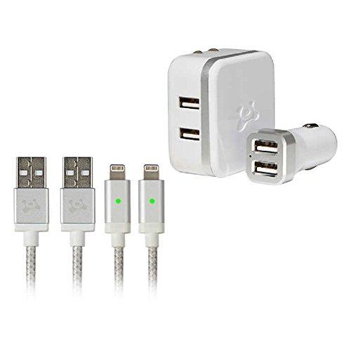 [해외]Ubio 연구소 아이폰아이 패드아이팟에 대 한 고속 번개 케이블 키트. 빠른 충전 Led 표시기를 위한 듀얼 풀 스피드 USB 벽 및 차량용 충전기 4.8 A (24W)가 있는 긴 6 피트 (6 `) 꼰 충전동기 코드 / Ubio Labs high Speed Lightning cable kit for ...