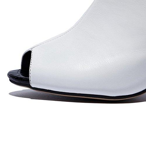 Allhqfashion Kvinna Öppen Peep Toe Ko Läder Höga Klackar Fasta Sandaler Med Chunky Klackar Och Tråd Vitt