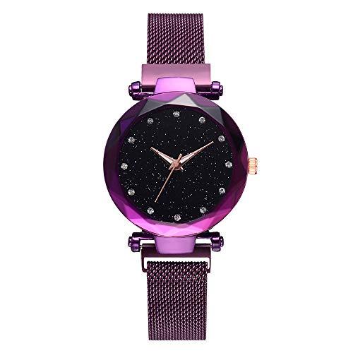 iDWZA Fashion Casual Quartz Mesh Belt Watch Analog Wrist Watch (Purple)]()