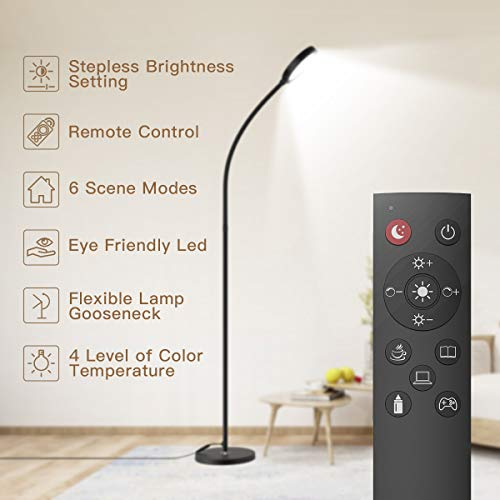 Floor Lamp, Remote & Touch Control 2500K-6000K LED Floor Lamp for Bedroom and 4 Color Temperatures Standing Lamp with Stepless Dimmer, dodocool Standing Light for Living Room Bedroom Office Reading (Bedroom Lamps Reading)