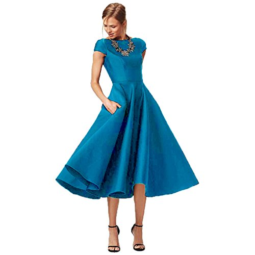 ED33 Evening Women's Dress Mother of Bride Fashionbride Short Sky Satin Blue Sleeve Length Tea Formal Gown The E6qnfw