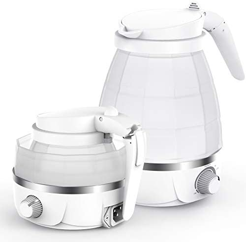 Portable Kettle, PopBabies Travel Kettle Electric, Silicone Kettle Collapsible Food Grade 0.6 quart Boil Dry Protection 110v White FDA Certified