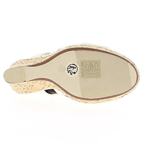 Weiße Keil Sandalen Ferse 11cm und 3 cm Tablett
