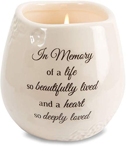 Pavilion Gift Company 19178 in Memory Beautifully Lived Ceramic Soy Wax Candle