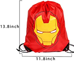 Superdaddy Superhero Comic Bags Cartoon Animation Drawstring Backpacks Super Hero Theme Party Favors Supplies Pack of 10