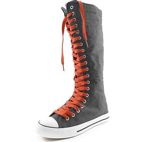 Dailyshoes Damesschoenen Mid Kalf Lange Laarzen Casual Sneaker Punk Flat, Grijze Laarzen, Rose Rood Kant