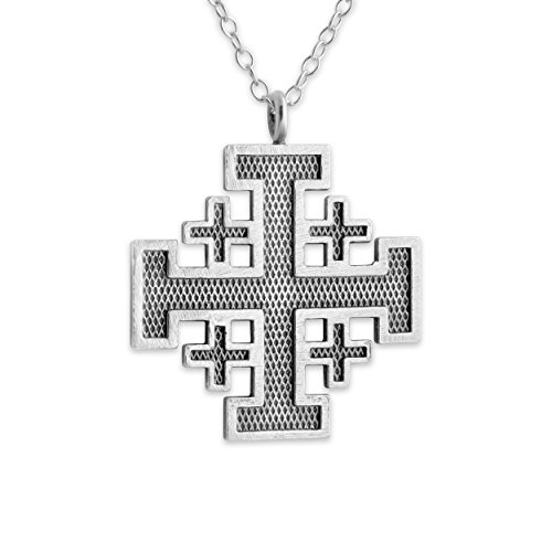 925-sterling-silver-outlined-jerusalem-crusaders-cross-necklace-14-inches