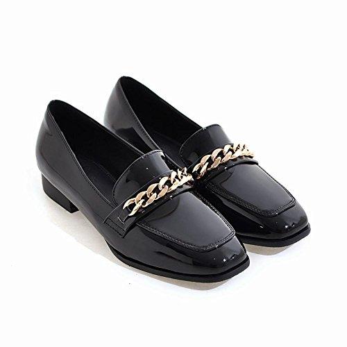 Voet Dames Vintage Stijl Lakleder Lage Hak Loafer Schoenen Zwart