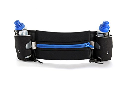 Distinct® Running Sport Taille Pack Halter Tasche Travel Taille Gürteltasche mit 2 * 150ML Wasser in Flaschen Blau