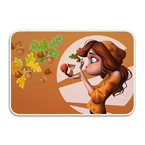 VEZEFOR Artistic Women Girl Squirrel Fall Blue Eyes Red Hair Hazelnut Welcome Door Mat Rug Indoor/Outdoor Mats Welcome Doormat Decor Rug 20x32 in ()