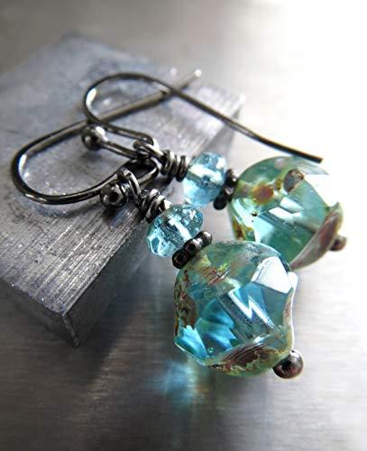 Inner Beauty - Small Earthy Seafoam Glass Earrings, Rustic Boho Jewelry