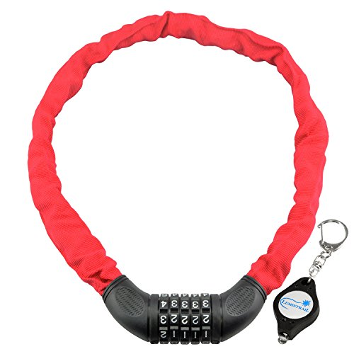Lumintrail Combination Bike Chain Lock w/Gift Keychain Light, 6x900mm bicycle security (Red)