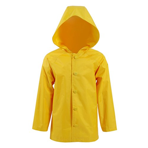 It Stephen King Costume (Yangxiao Raincoat Cosplay Costume Yellow Rainwear Jacket Outdoor Hooded Suit for Adults Kids (Child XS, Yellow))