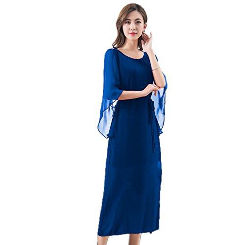 Cotyledon Colore Di Eleganti Solido `s Blu Chiffon Manica Chiarore Di Delle Vestito Abiti Donne XvPrtXqwnx