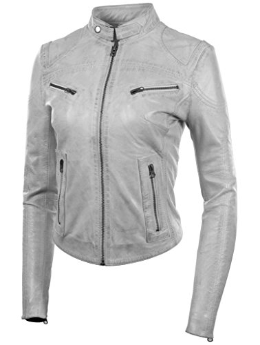 Aviatrix Alla Giacca Vera crd9 Soft In Da Moda Pelle Donna Moto Bianco Molto Super rIrwSFa