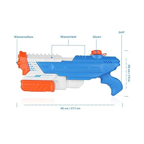 EKKONG Pistola ad Acqua, 1400ml Getto Super Potente e 8-10M Lunga Gittata Giocattoli Pistole ad Acqua Water Guns per… 2 spesavip