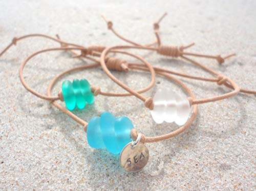Sea Glass Leather Adjustable Bracelet- Beach Glass Bangle-Handcrafted Bead Bracelet