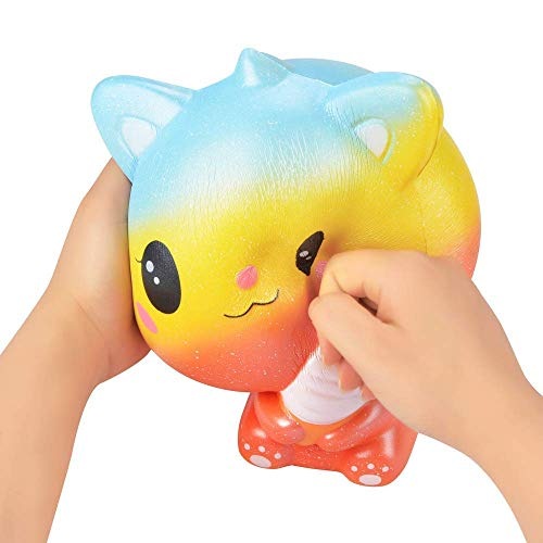 Ganjiang Kawaii Giant Animal Squishy Jumbo Soft Slow Rising Soft Stress Relief Toy, Kids Gifts, Home Decor,Collections (Orange Ice Cream Cat)