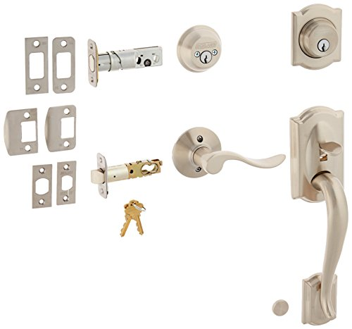 RH Satin Nickel Camelot Right Hand Double Cylinder Handleset with Accent Interior Lever from the F-Series (Camelot Double Cylinder Handleset)